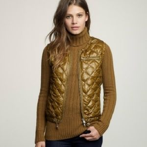 J. Crew • luminosa quilted down puffer olive vest